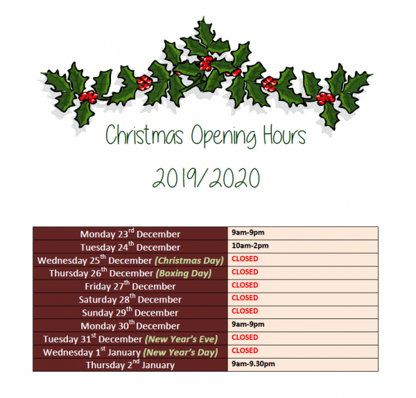 Vale Xmas opening hours